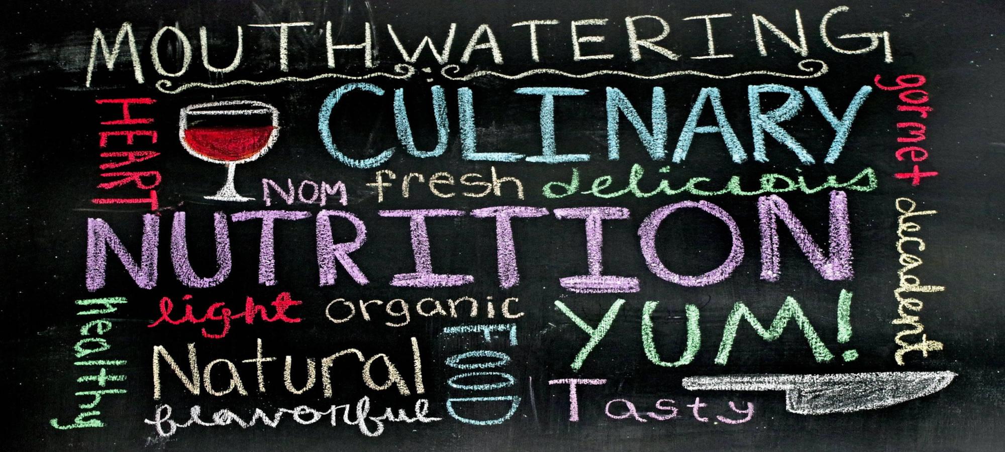Tafel mit Begriffen rund um das Thema Essen, © pixabay