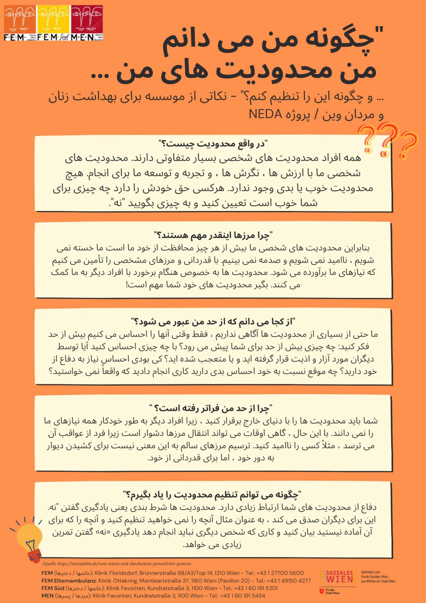 """Plakat """"Was sind Grenzen"""" in Farsi"""